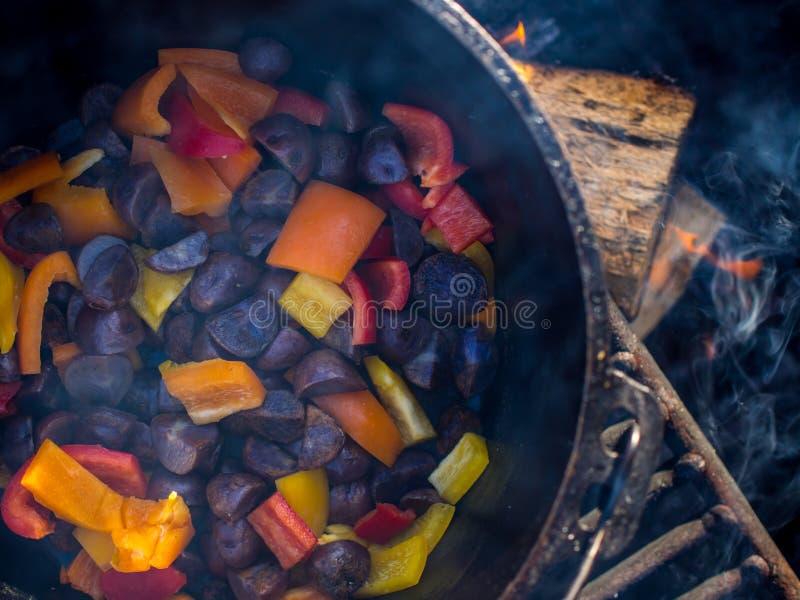 Karmowy kucharstwo w obsady żelazie nad ogniskiem obraz royalty free