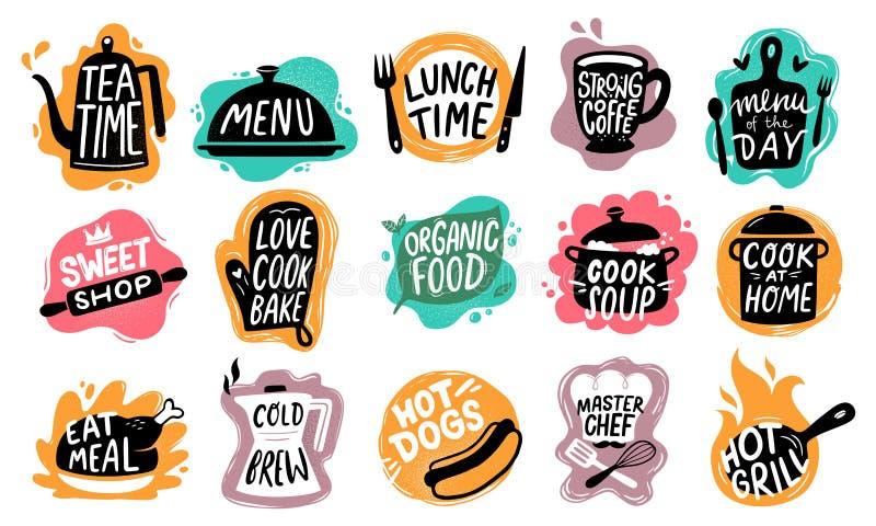 Karmowy literowanie Piekarnia kuchenni cukierki, hot dog odznaka i ?ywno?? organiczna logo wektoru set, royalty ilustracja