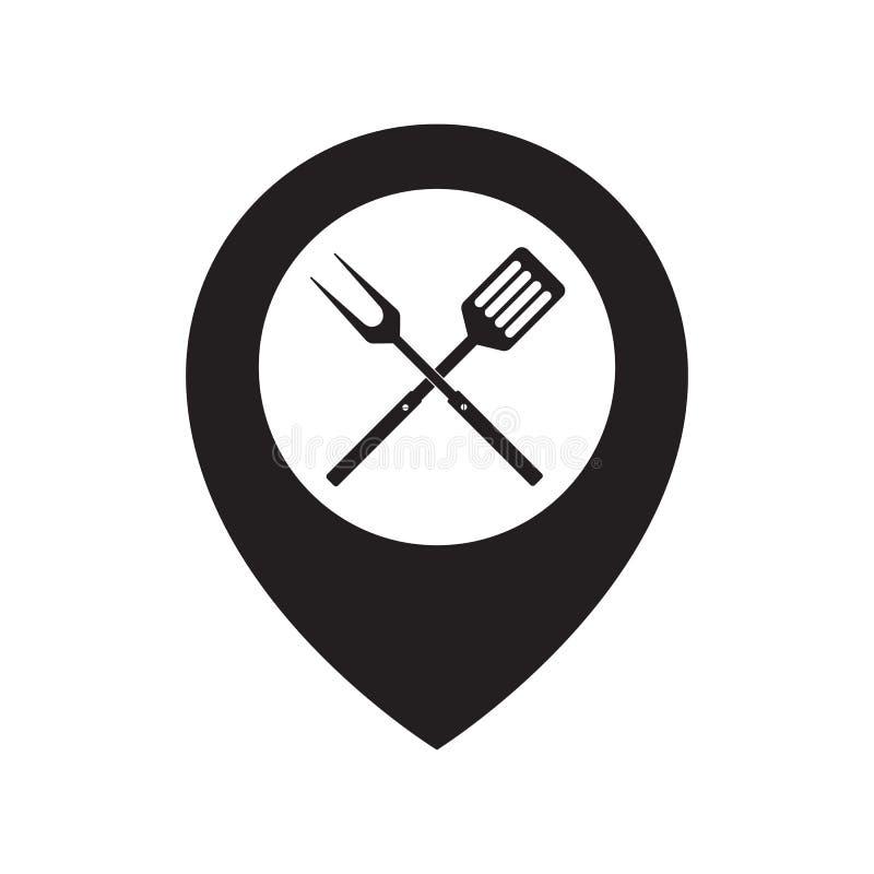 Karmowy lokaci ikony loga projekta element BBQ lub grilla narzędzi ikona Krzyżujący grilla rozwidlenie z szpachelki i mapy pointe royalty ilustracja