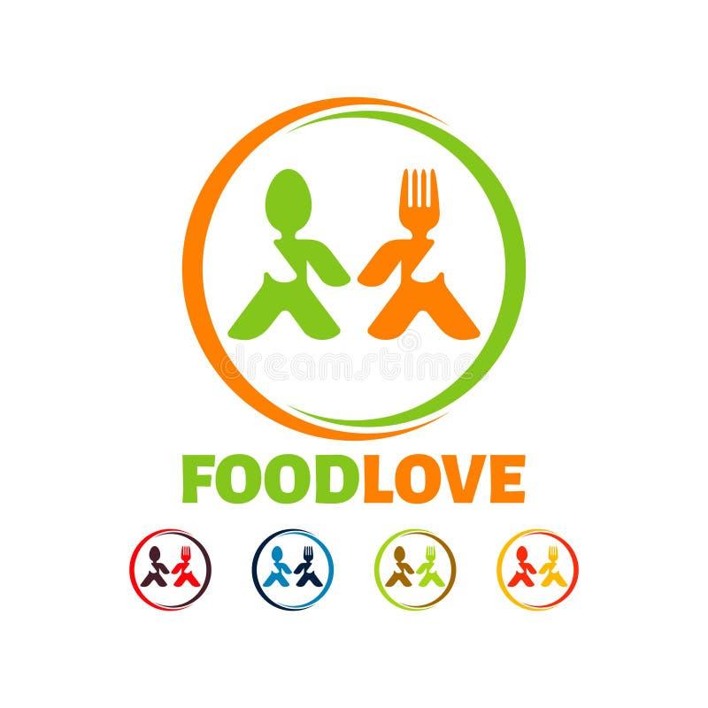Karmowy miłość logo, Nowożytnego kreatywnie zakładu spożywczego loga wektorowy szablon royalty ilustracja