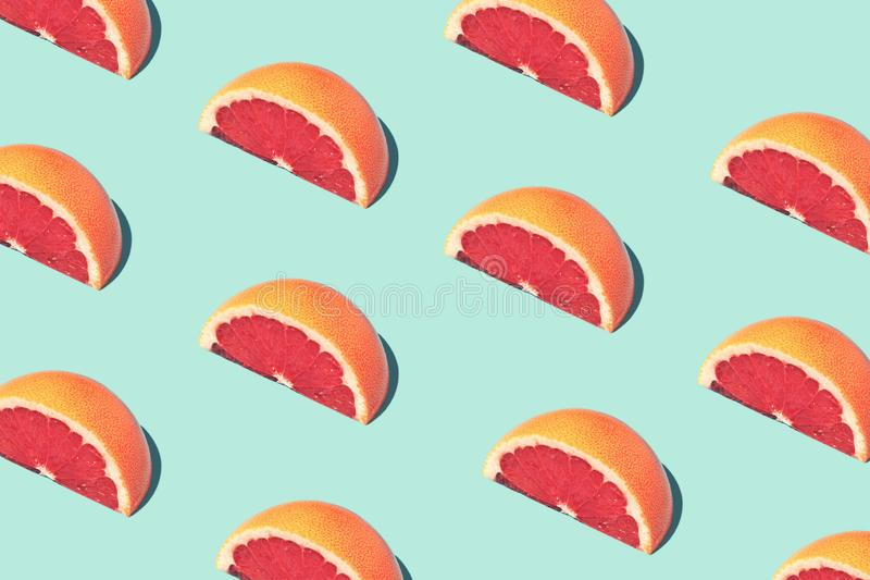 Karmowy mody jedzenia wzór z grapefruits zdjęcie stock