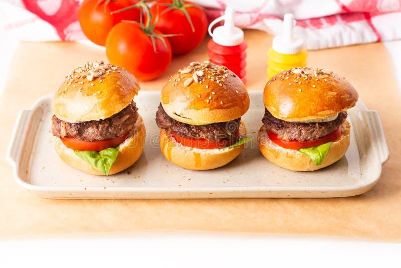 Karmowy pojęcie Domowej roboty wzmacnia hamburgery słuzyć na kwadrata talerzu na białym tle z kopii przestrzenią obrazy royalty free
