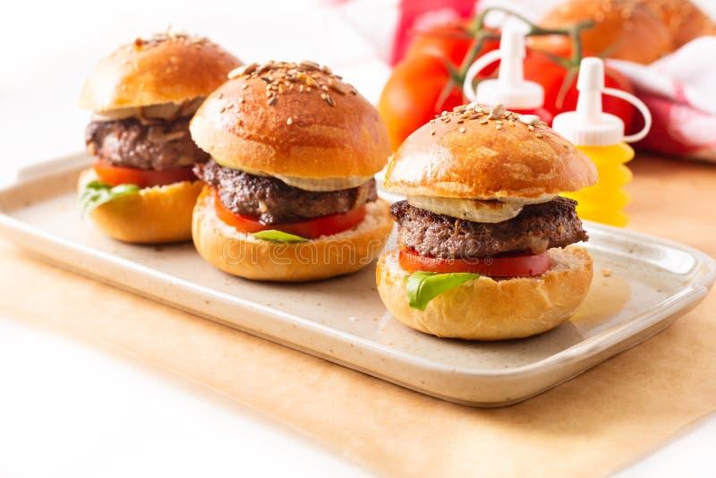 Karmowy pojęcie Domowej roboty wzmacnia hamburgery słuzyć na kwadrata talerzu na białym tle z kopii przestrzenią fotografia royalty free