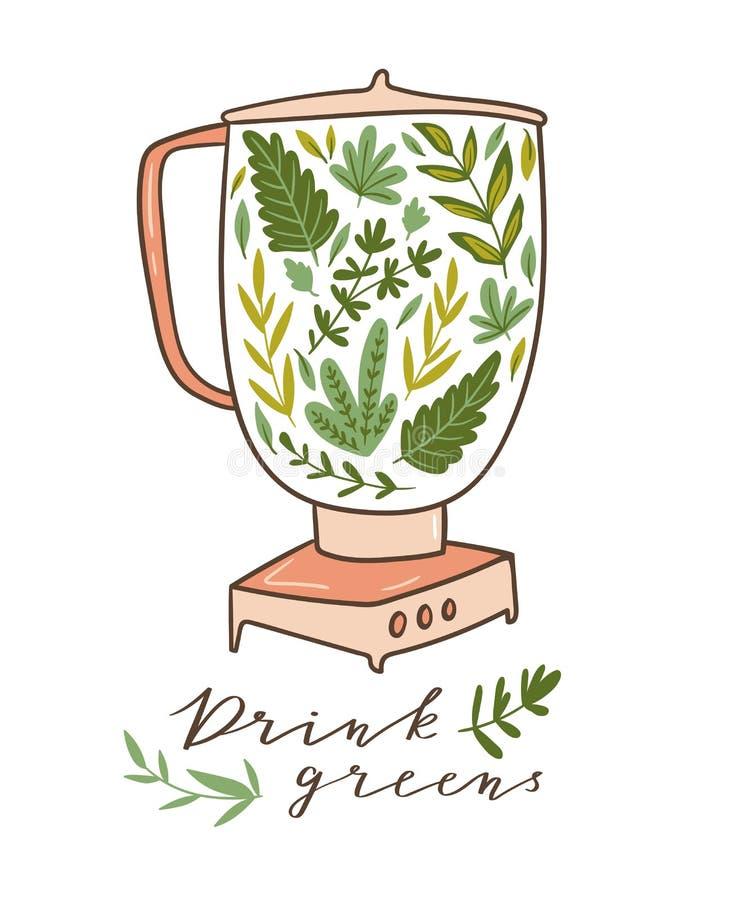 Karmowy procesor, melanżer, blender i zielenie, Zdrowy plakat z tekstem - «Pije zielenie również zwrócić corel ilustracji wektora royalty ilustracja