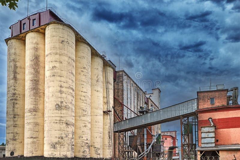 Karmowy przerób, zbożowy składowy silos z osuszką na zmechanizowanych półdupkach zdjęcie stock