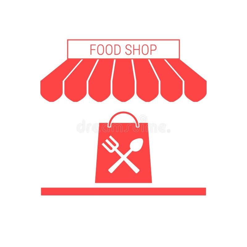 Karmowy sklep, sklep spożywczy Pojedyncza Płaska Wektorowa ikona Pasiasta markiza i Signboard ilustracji