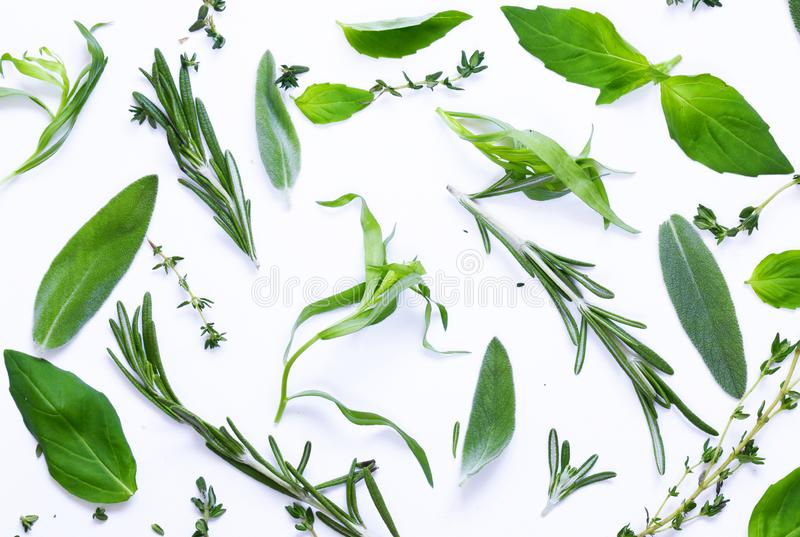 Karmowy tło, ziele i pikantność, obrazy stock