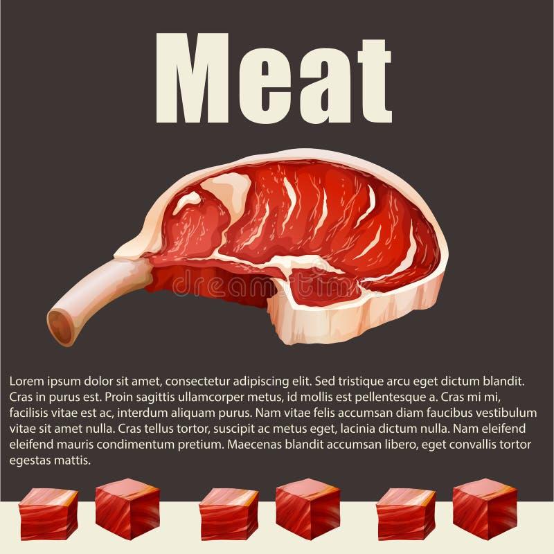 Karmowy temat z mięsnymi produktami royalty ilustracja