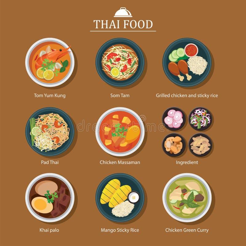 karmowy ustalony tajlandzki ilustracja wektor