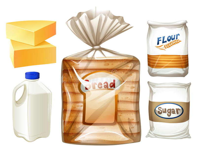 Karmowy ustawiający z chlebem i mlekiem royalty ilustracja
