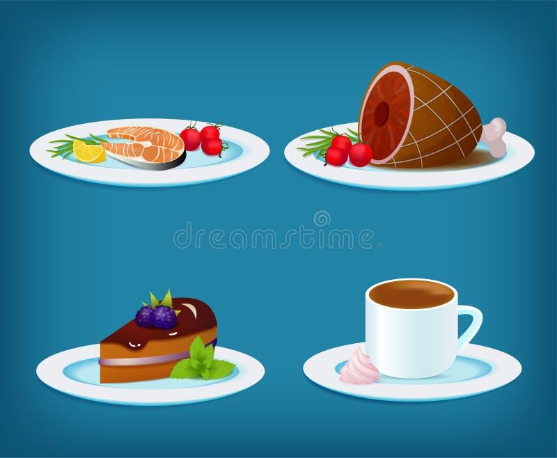 Karmowy Ustawiający z ryba, mięsem, deseru tortem i kawą Piec na grillu, ilustracji