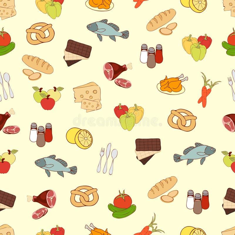 Karmowy wektorowy tło, bezszwowy wzór Patroszonej kreskówki stubarwne żywność na kolorze żółtym Dla projekta tkanina, wallpa ilustracji