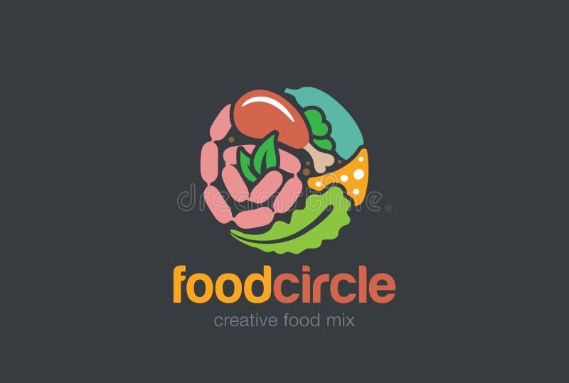 Karmowy Wyśmienity okręgu loga sklep Mięsny asortymentu sklepu logotyp ilustracja wektor