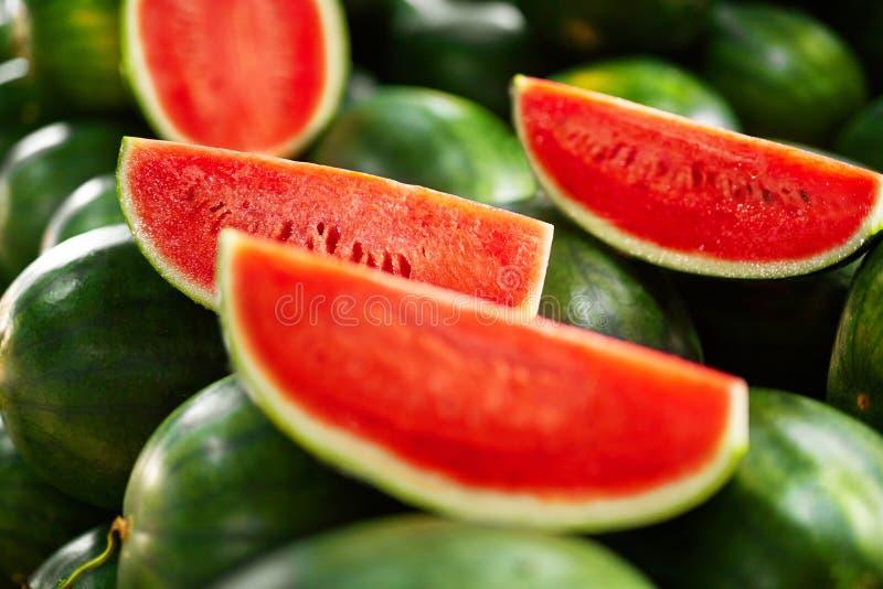 karmowy zdrowy organicznie Arbuzów plasterki Odżywianie, witaminy Fr obraz stock