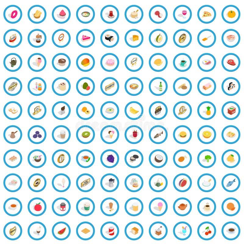 100 karmowych i napojów ikon ustawiających, isometric 3d styl royalty ilustracja