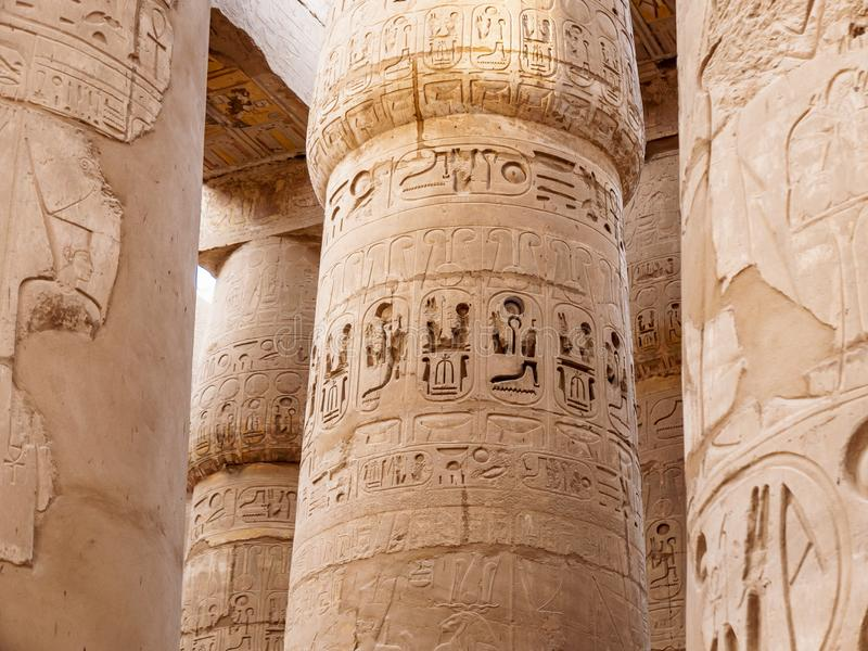 Karnak Column Details from the Ancient Egyptian Civilization stock images