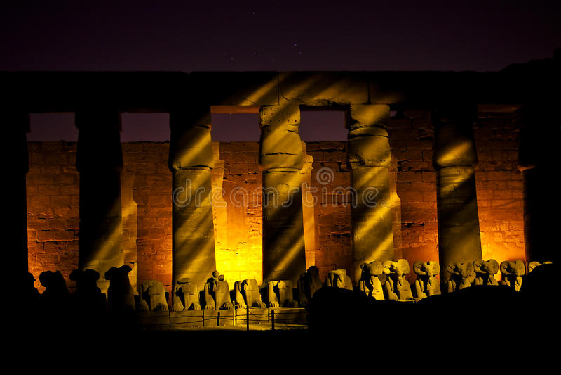 Karnak a lightshow fotografie stock libere da diritti