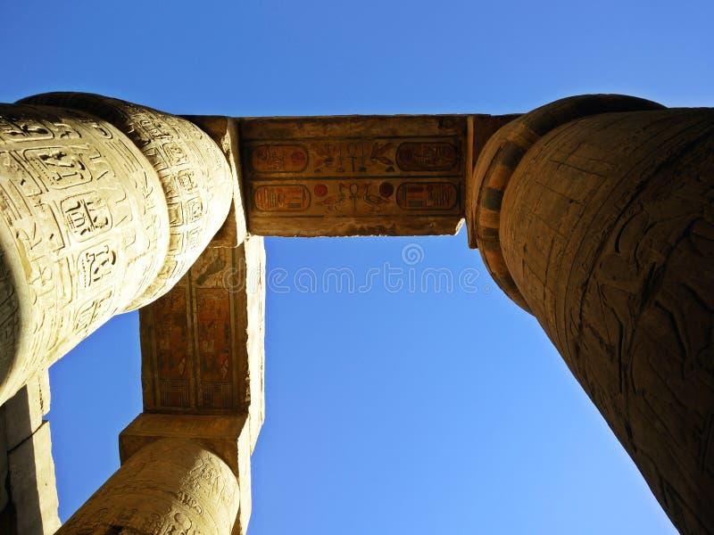 Karnak Temple. Colorful columns of Karnak temple stock photography