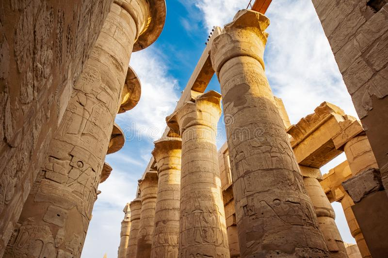Karnak Temple in Luxor, Egypt. The Karnak Temple Complex, commonly known as Karnak, comprises a vast mix of ancient temples, stock images