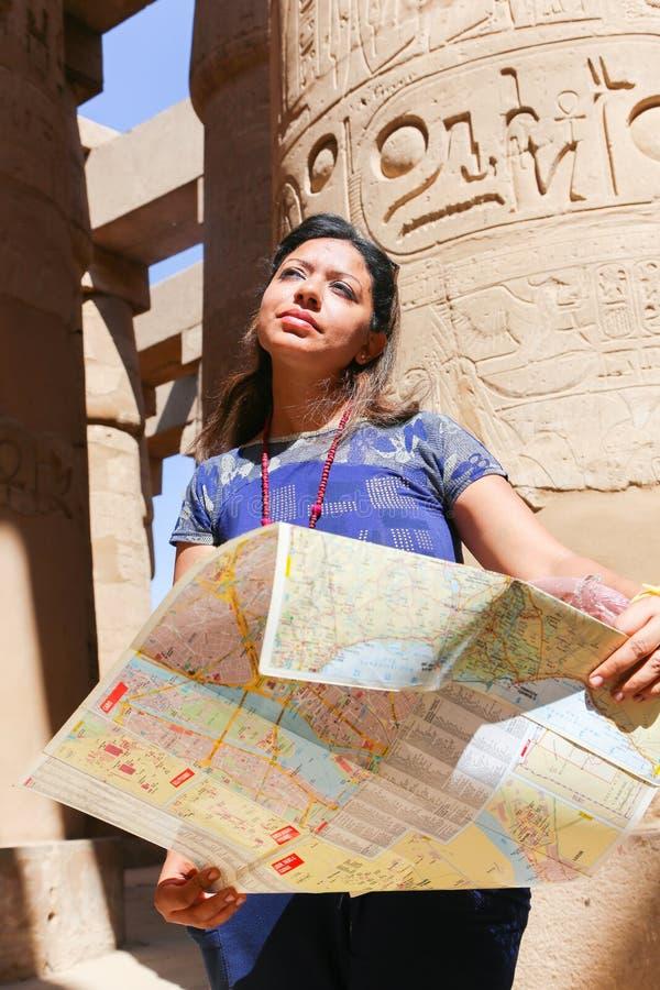 Tourist at Karnak Temple - Egypt. Karnak Temple at Luxor - Egypt Karnak temple - Most huge temple at Egypt stock image