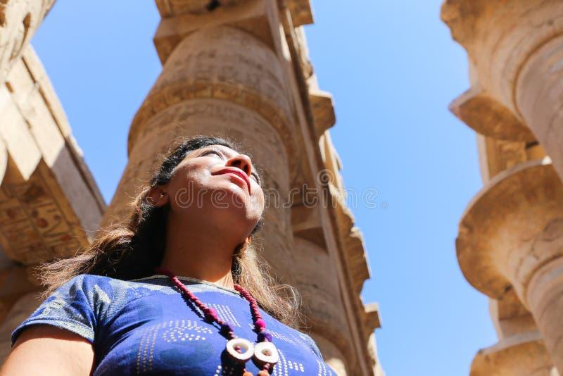 Tourist at Karnak Temple - Egypt. Karnak Temple at Luxor - Egypt Karnak temple - Most huge temple at Egypt royalty free stock photos