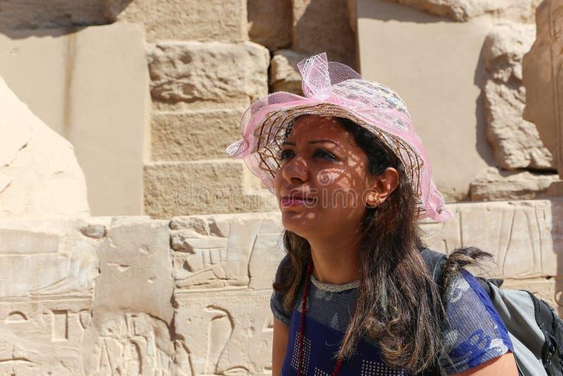 Tourist at Karnak Temple - Egypt. Karnak Temple at Luxor - Egypt Karnak temple - Most huge temple at Egypt stock images
