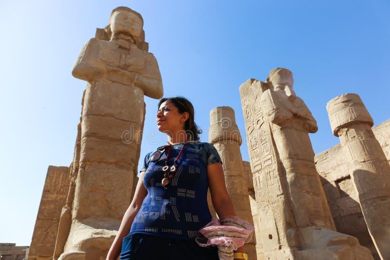 Tourist at Karnak Temple - Egypt. Karnak Temple at Luxor - Egypt Karnak temple - Most huge temple at Egypt royalty free stock image
