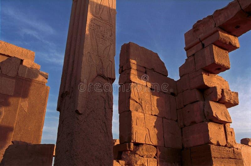 Karnak temple ruins. Ruins of the Karnak temple, Egypt, taken at sunset royalty free stock photo