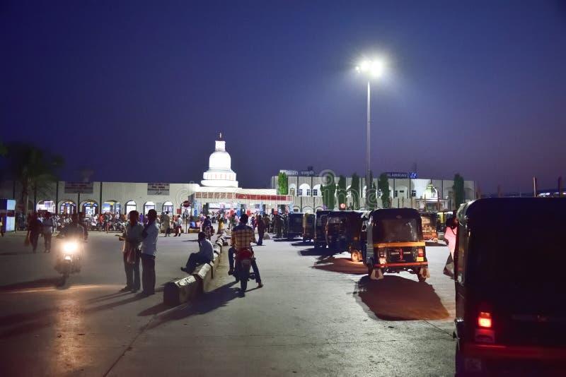 Karnataka Ινδία σιδηροδρομικών σταθμών Gulbarga στοκ εικόνα