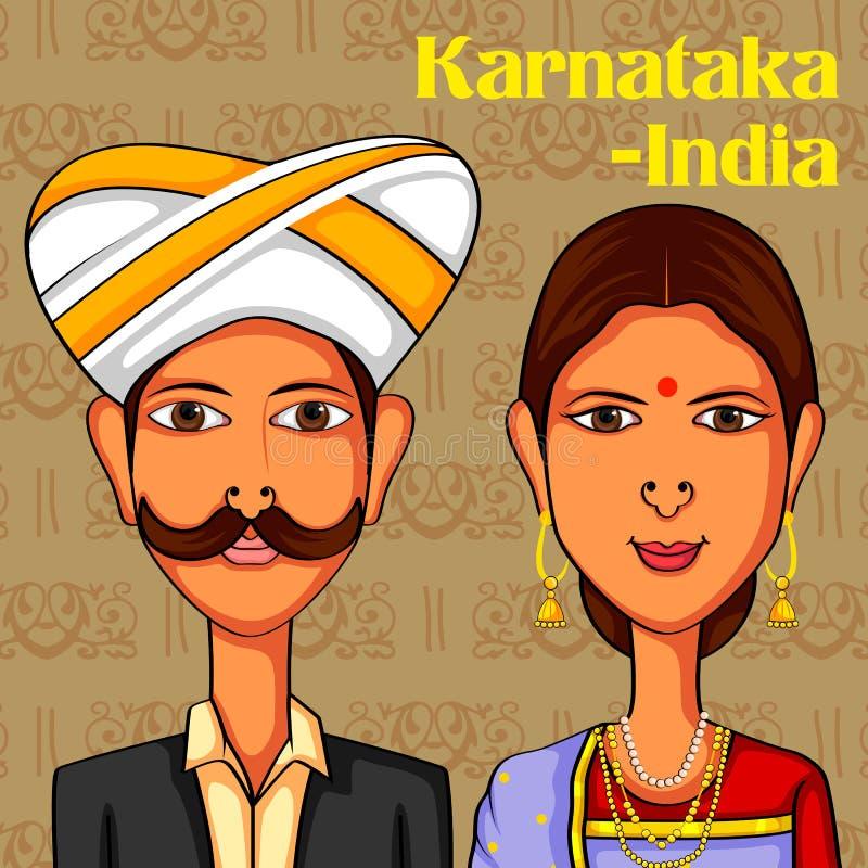 Karnatakani para w tradycyjnym kostiumu Karnataka, India ilustracja wektor