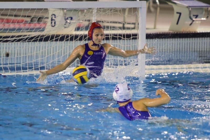 Waterpolo EuroLeague Women Championship Kinef Surgutneftegas Kirishi vs Dunaujvaros royalty free stock images
