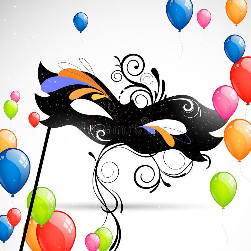 Karnawałów balony i maska royalty ilustracja