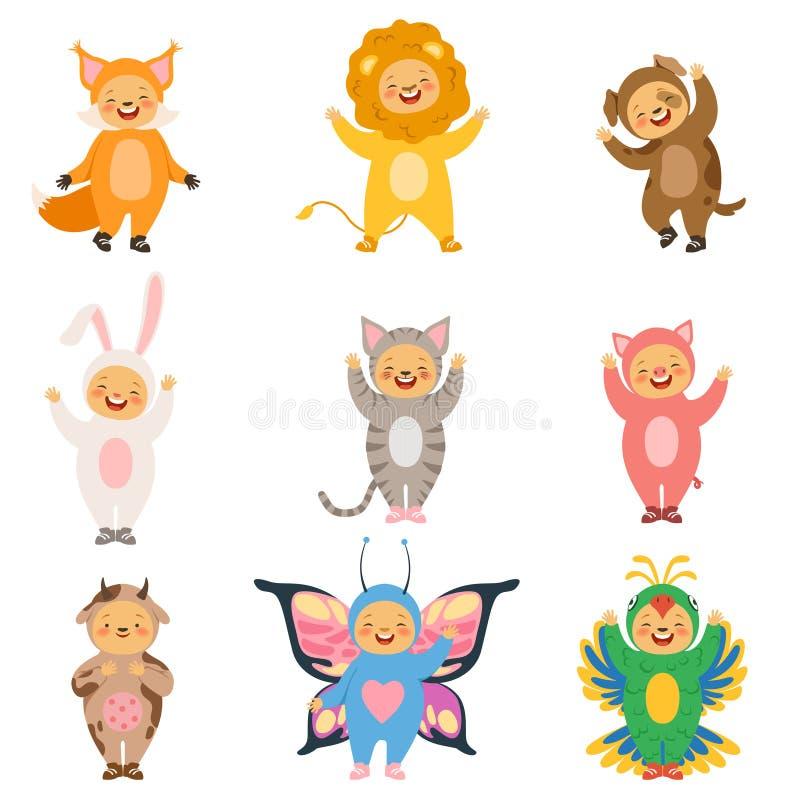 Karnawałów dzieciaki odziewają Kostiumy śmieszni kreskówek zwierzęta ilustracji