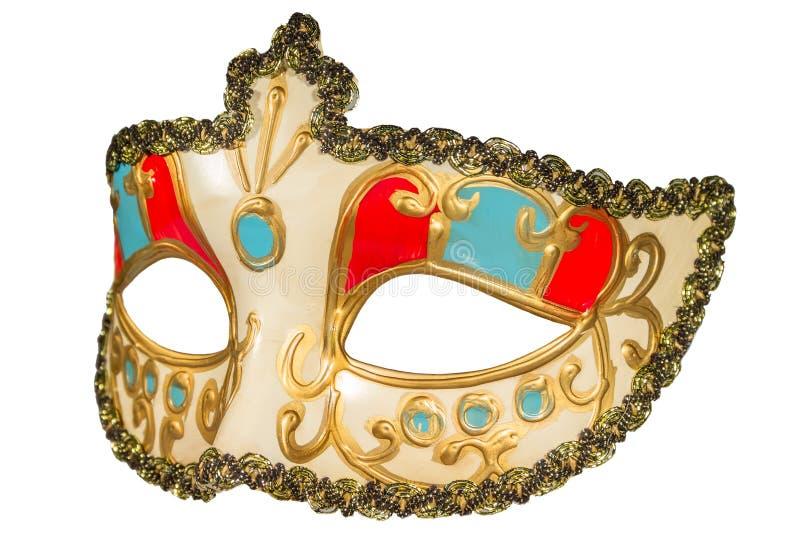 Karnawał maska malował curlicues dekorację błękitny i czerwień ins obraz royalty free