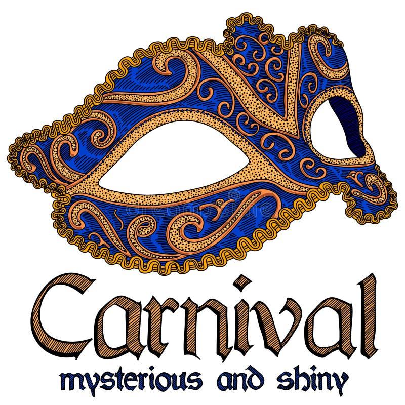 Karnawałowa reklama, sztandar, zaproszenie Bogato dekorujący karnawału maska, błękit i złoto, na białym tle Szczegółowy rysunek ilustracji