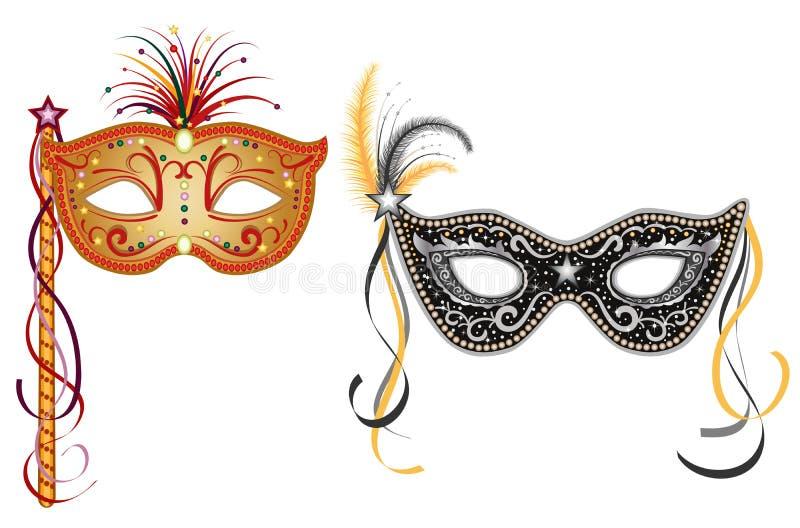 Karnawałowe maski - złoto i srebro