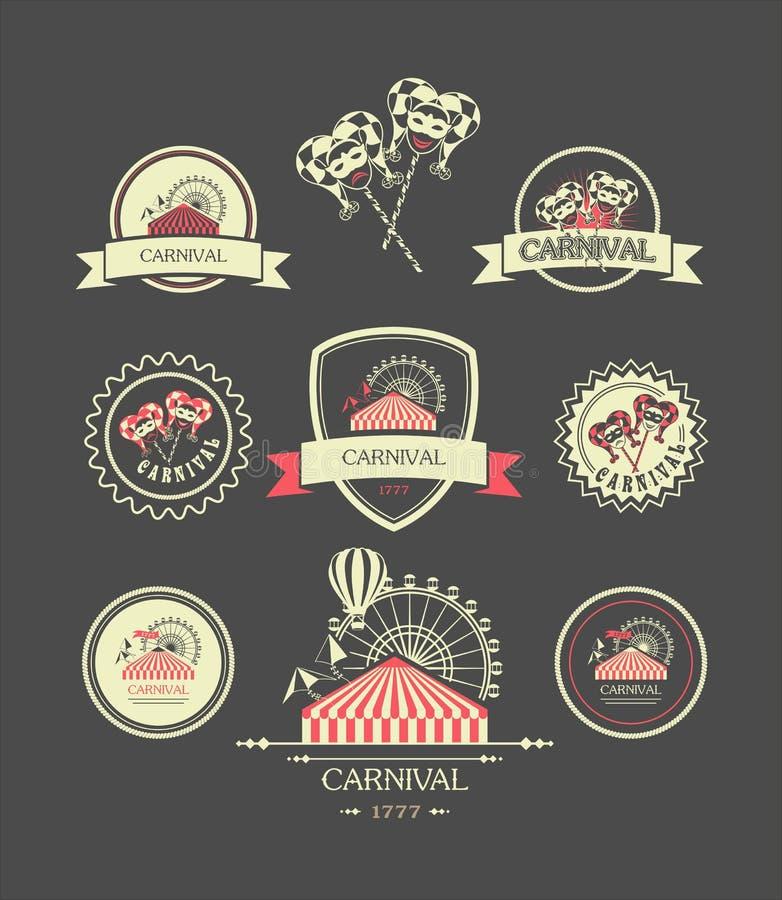 Karnawałowe rocznik odznaki ilustracji