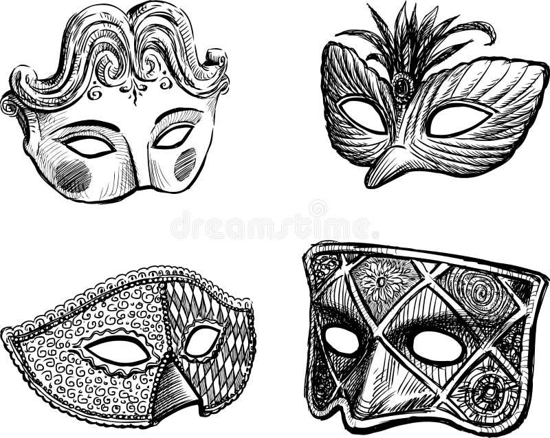 Karnawałowe venetian maski ilustracji