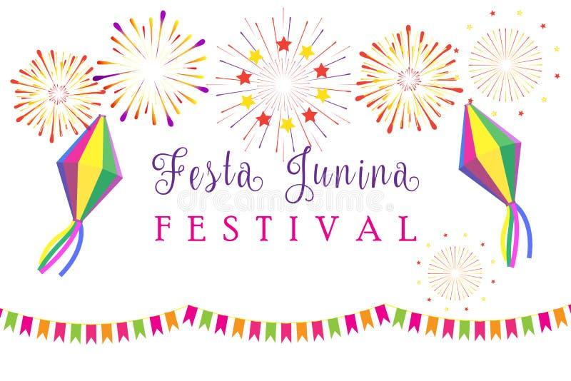 Karnawałowi Festa Junina lata festiwalu fajerwerki royalty ilustracja