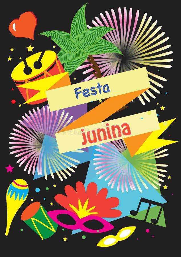 Karnawałowy świąteczny plakat - Ilustracyjna wektorowa płaska kreskówka Festa Junina lub Czerwa festiwal jest tradyci festiwalem  royalty ilustracja