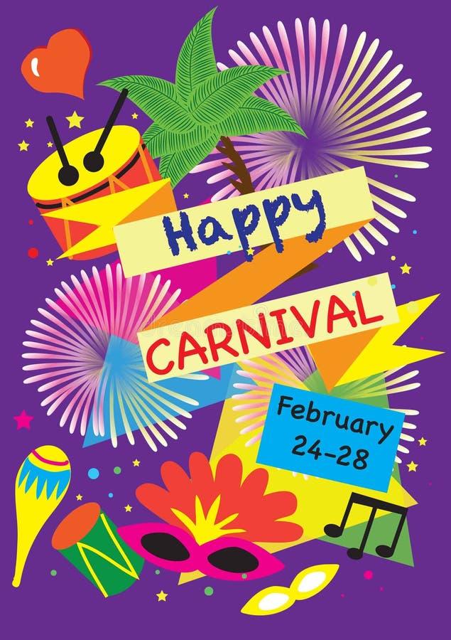 Karnawałowy świąteczny plakata wektoru set fajerwerki, maskaradowi symbole, festiwalu abstrakcjonistyczny kolorowy backgrou ilustracja wektor