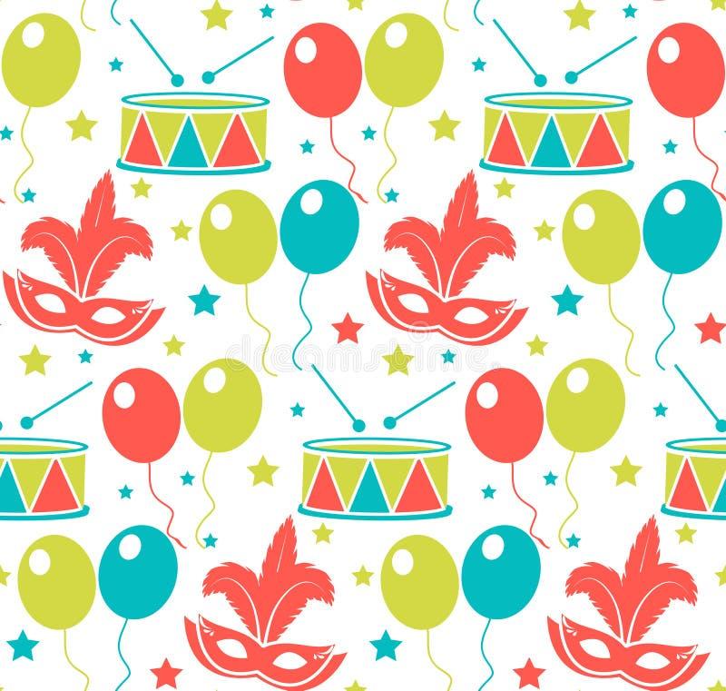 Karnawałowy bezszwowy wzór Purim powtórkowa tekstura Wakacje, maskarada, festiwal, przyjęcie urodzinowe Niekończący się tło ilustracji