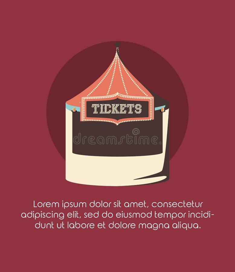 Karnawałowy biletowy budka zabawy jarmarku cyrkowy retro styl ilustracji