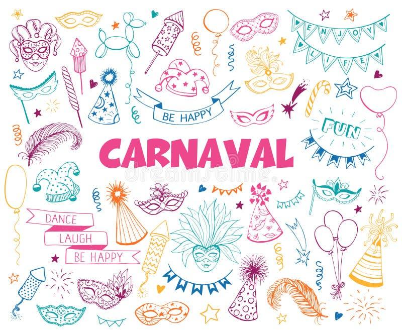 Karnawałowy doodle set ilustracji