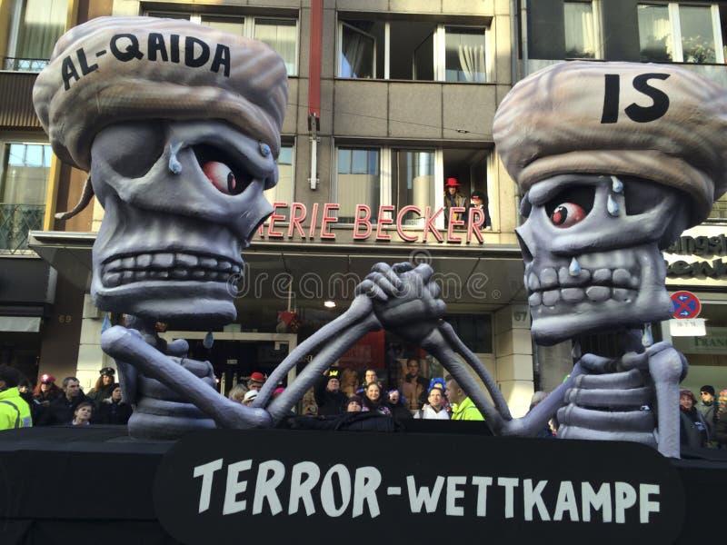 Karnawałowy Duesseldorf 02/16/2015 - odpowiedź Charlie Hebdo zdjęcia stock