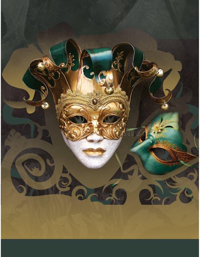 karnawałowy flier maskarady nowy rok ilustracji