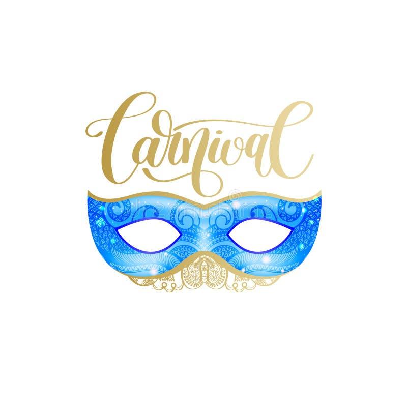 Karnawałowy literowanie loga projekt z maski i ręki pisać słowem royalty ilustracja