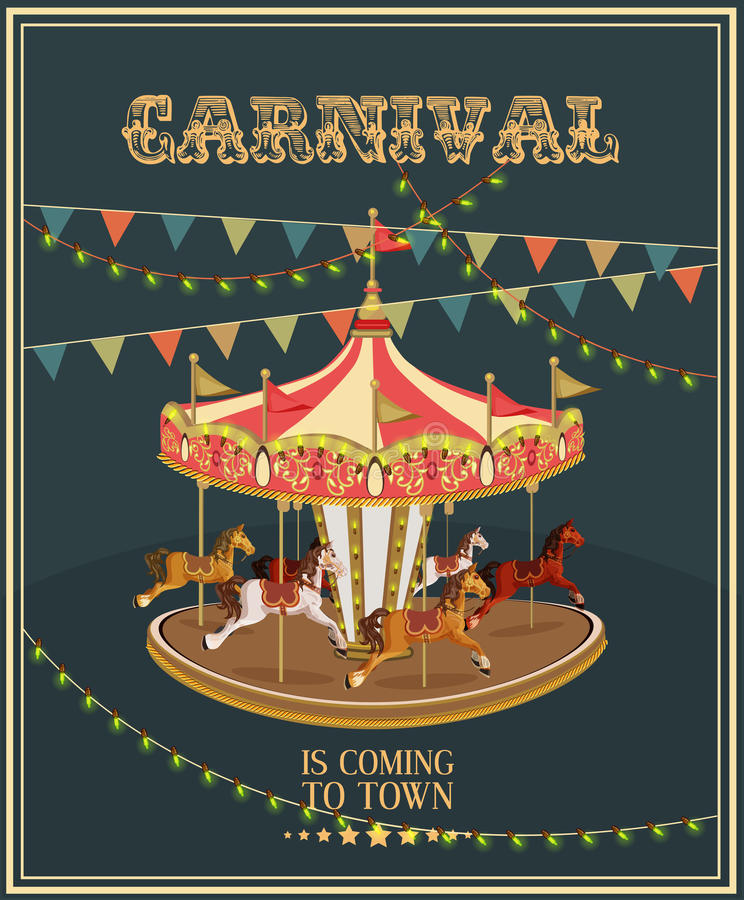 Karnawałowy plakat z karuzelą w rocznika stylu Carousel z koniami