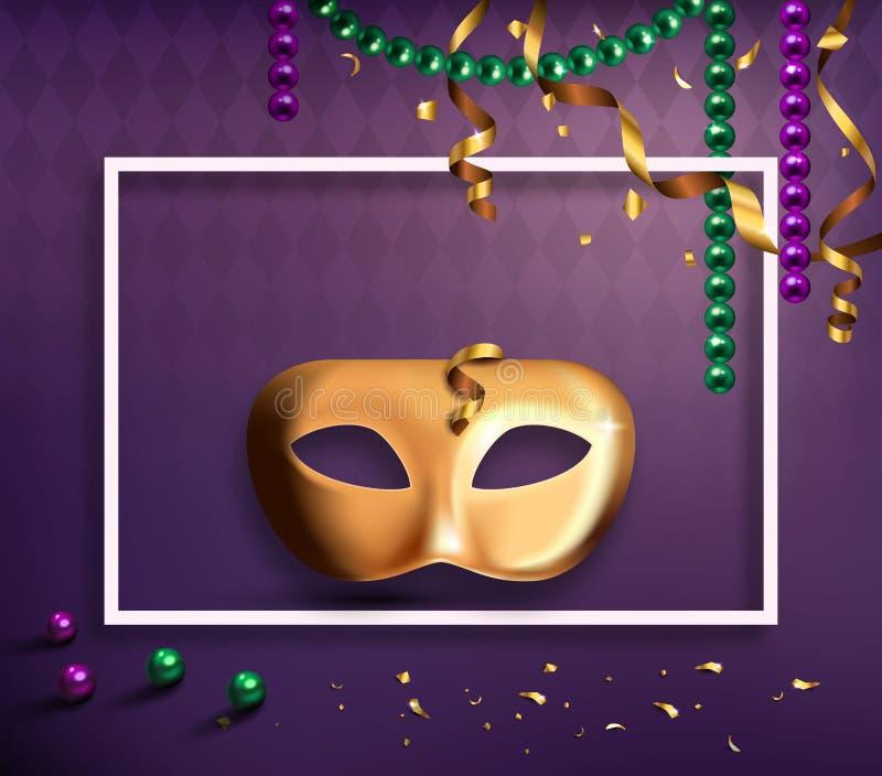 Karnawału Maskowy pojęcie z Ramowymi confetti i faborkami na purpurach royalty ilustracja