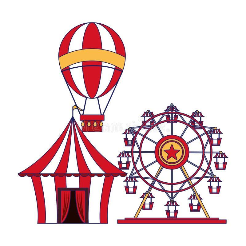 Karnawa?owe cyrkowe festiwal kresk?wek niebieskie linie ilustracja wektor